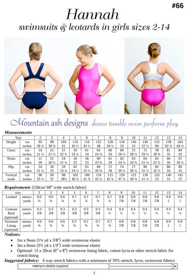Hannah Racer Back Swimsuit and Leotard Sewing Pattern in Girls Sizes 2-14