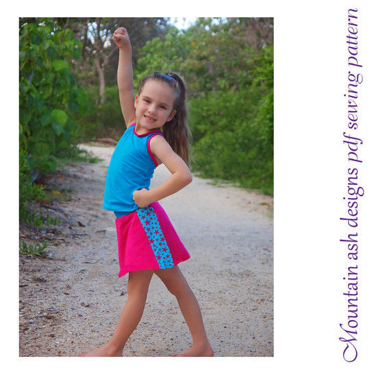 Riley Sport Skirt Sewing Pattern in Girls Sizes 2-14