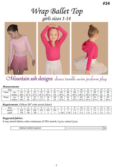 Wrap Ballet Tops in Girls Sizes 1-14