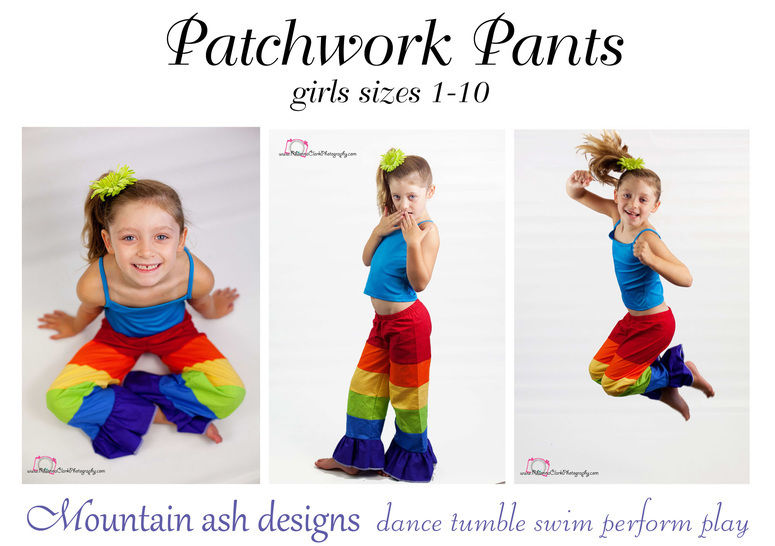 Patchwork Pants Rainbow Pants Sewing Pattern in Girls Sizes 1-10