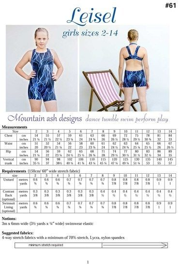 Leisel Swimsuit and Unitard Sewing Pattern in Girls Sizes 2-14