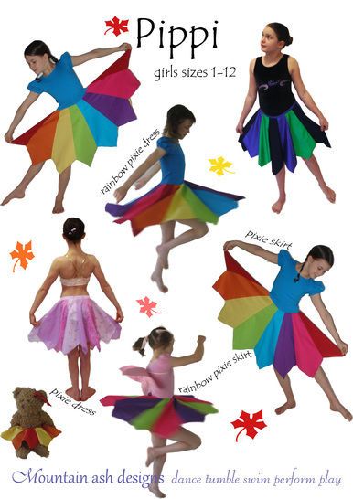 Pippi Pixie Dress and Skirt Sewing Pattern in Girls Sizes 1-12