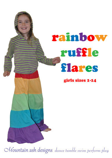 Rainbow Ruffle Flares Festival Pants Sewing Pattern in Girls Sizes 1-14