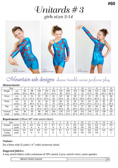 Unitards #3 Off the Shoulder Unitard Sewing Pattern in Girls Sizes 2-14