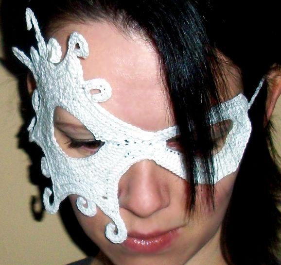 Half Face Lace Masquerade Mask (dress up or photo prop)- crochet pattern