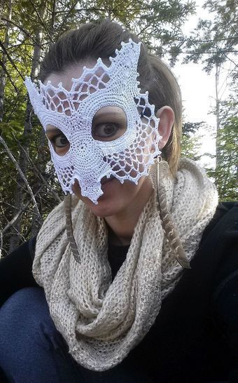 Owl Lace Masquerade Mask (dress up or photo prop)- crochet pattern