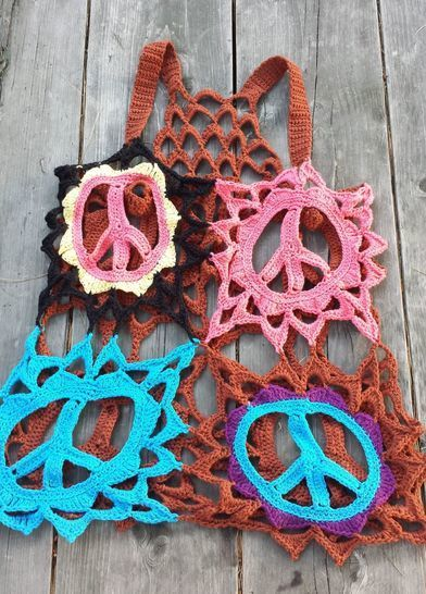 Peace Sign Racer back Boho Cover Up Top - crochet pattern