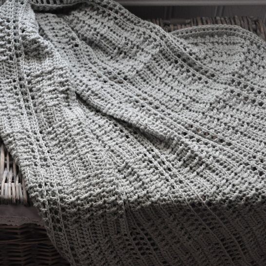 Silver Squares Crochet Baby Blanket
