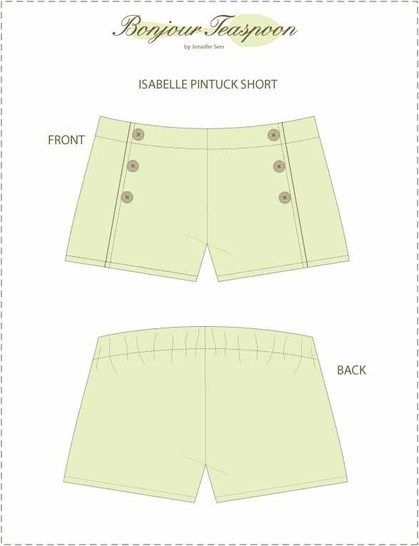 Isabelle Pin Tuck Sailor Short pdf Sewing Pattern for Girls