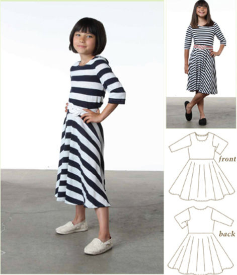 Taylor Regatta Knit T-Shirt Dress PDF Sewing Pattern for Girls