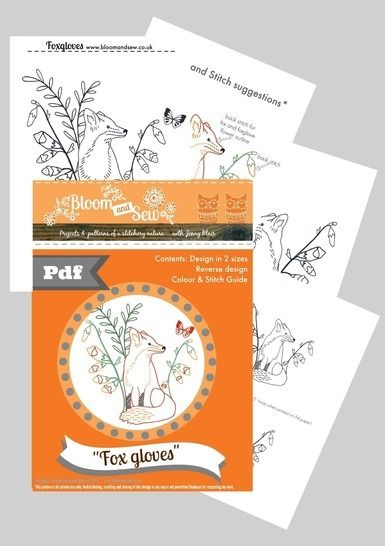 Fox and foxgloves woodland embroidery pattern