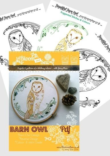 Barn Owl Woodland Embroidery Pattern