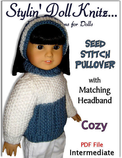 Seed Stitch Doll Sweater. Fits 18 inch dolls.