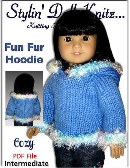 "Fun Fur Hoodie for 18"" Doll"
