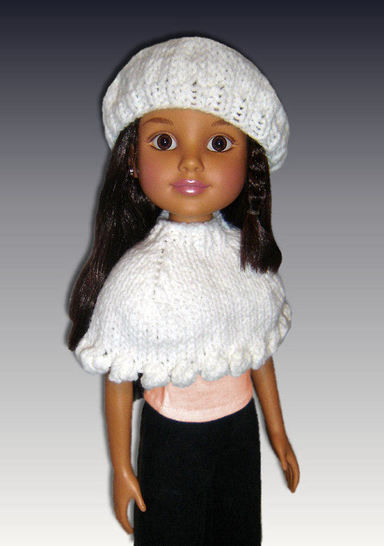 "Capelet and Beret for 18"" slim dolls. BFC Ink."