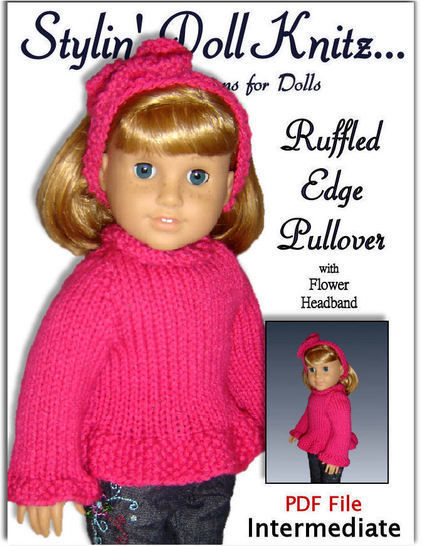 "Ruffled Edge Sweater for 18"" Doll"