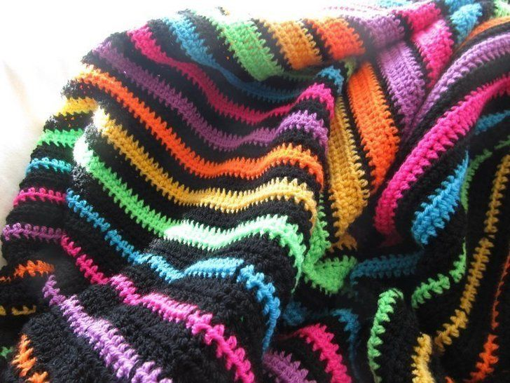 Neon striped blanket pattern, beginner pattern