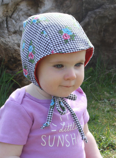 Brimless Baby Bonnet Sewing Pattern // Baby Sun Bonnet // Reversible Bonnet // Modern Bonnet // Animal Ear Bonnet // Hearing Aid Hat //