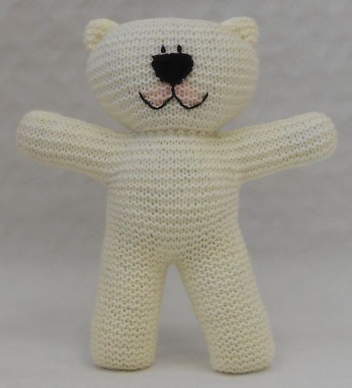 Teddy Bear easy knit Pattern suitable for beginner knitters with illustrated instructions by Wooly Crew. Ideal learn to knit pattern