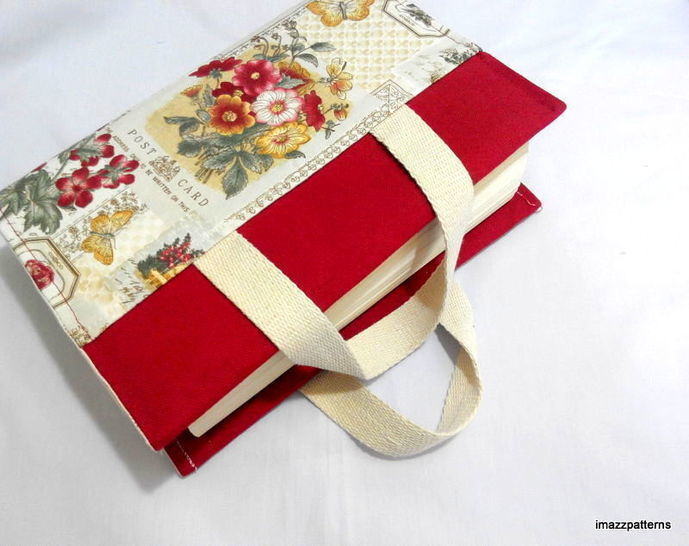 A book bag / fabric book cover with handles - fast and easy techniques !