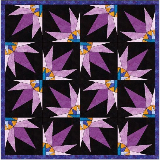 HC Quarter Star 10 Inch Paper Piecing Foundation Quilting Pattern