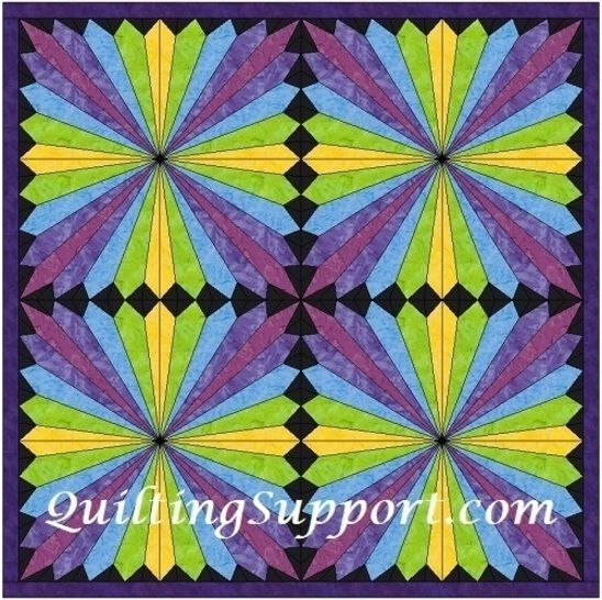 15 Inch HC Rainbow Fan Template Block Quilting Pattern