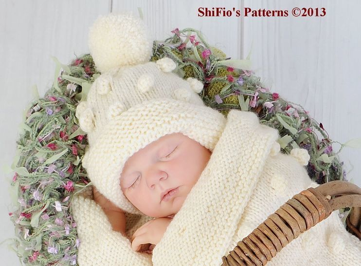 KP128 Bobble Cocoon, Papoose & Hat Baby Knitting Pattern #128