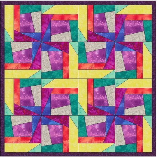 Crazy Block Patch 10 Inch Paper Piece Foundation Quilting Pattern