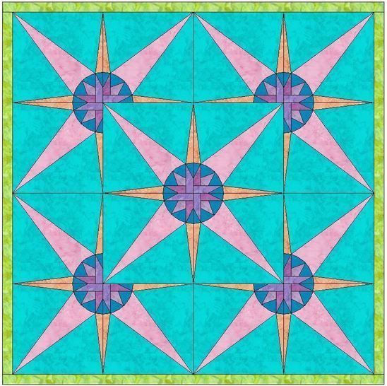 HC Quarter Star 7 - 10 Inch Paper Piecing Foundation Quilting Block Pattern