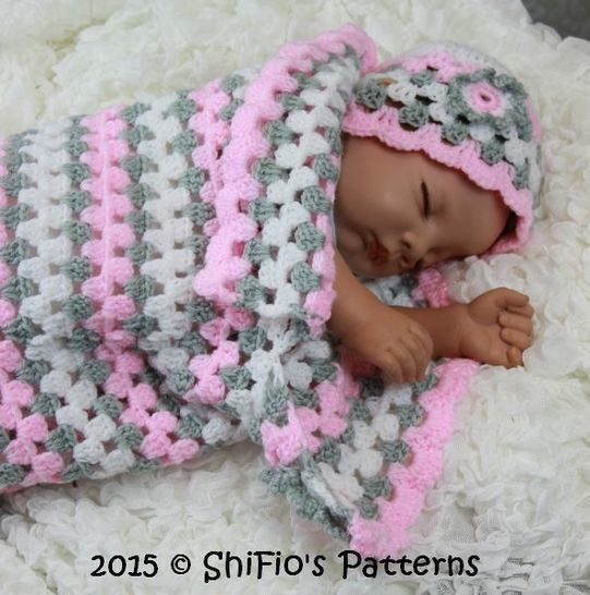 CP329 Granny st Baby Cocoon, Papoose & Hat in 3 Sizes  Crochet Pattern #329