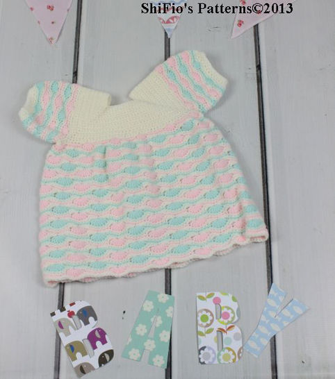 CP107 Baby Dress 5 Sizes 0-18months Crochet Pattern #107