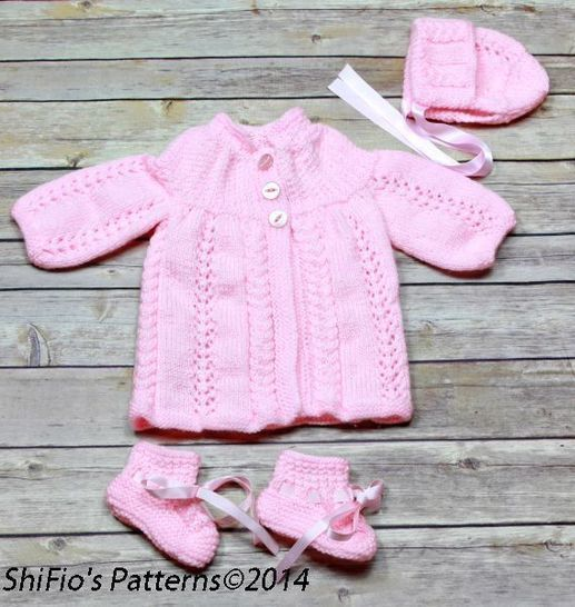 KP99 Baby Jacket, Hat & Booties in 2 Sizes Knitting Pattern #99