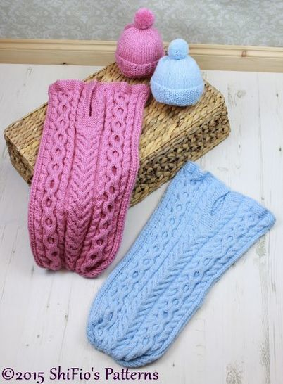 KP318 Cuddle Cable Cocoon, Papoose, Hat Knitting Pattern in 2 Sizes Baby Knitting Pattern #318