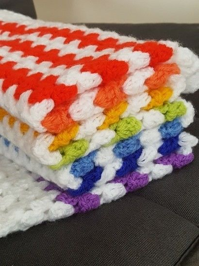 Crochet Blanket, Rainbow, Pattern No24, in both UK and US crochet terms