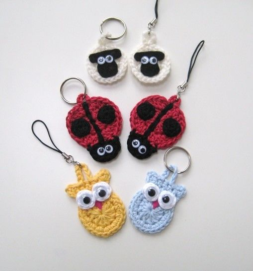 Crochet Animal Keychains, keyrings, sheep ladybird owl, Pattern No7, in both UK and US crochet terms