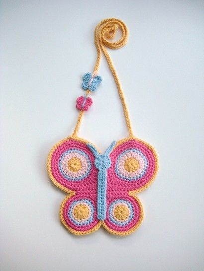 Crochet bag, Butterfly bag, Pattern No20, in both UK and US crochet terms
