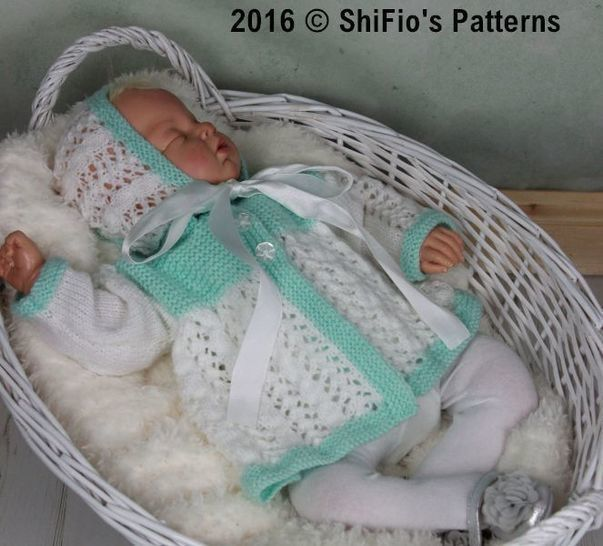 KP350 Chloe Matinee jacket and hat Baby Knitting Pattern #350