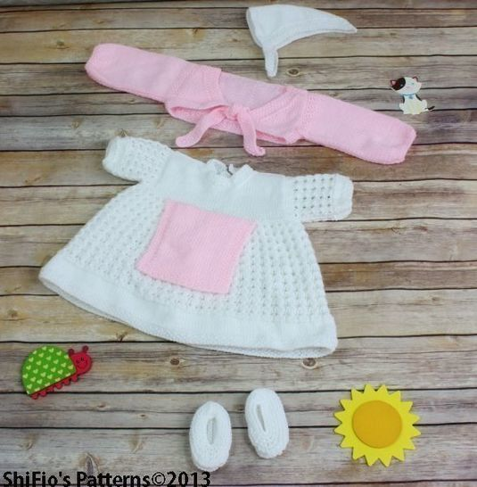 KP55 Calico Rose Baby Dress, Apron, Headscarf, Knitting Pattern #55