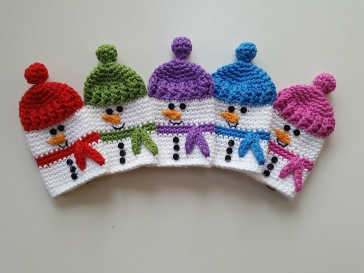 Crochet Snowman Keycosy, Keycozy, Keycover, Pattern No26, in both UK and US crochet terms