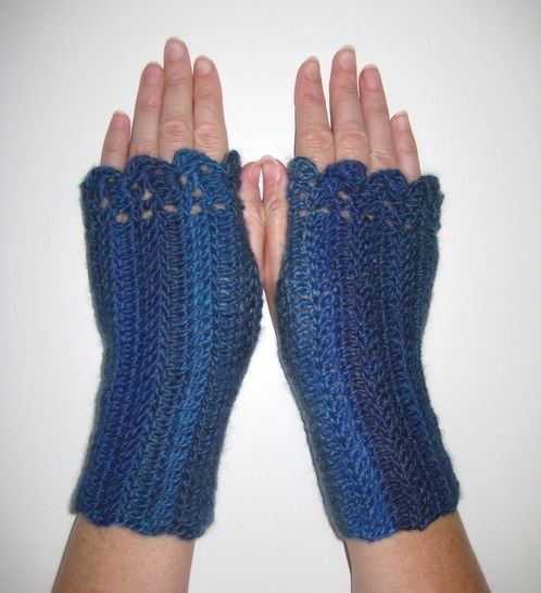 Crochet Scarf Mittens, Blue Wrap, Fingerless mitts, Pattern No23, in both UK and US crochet terms