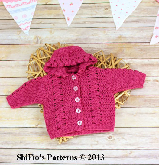 CP2 Trellis Baby Hooded Jacket in 4 Sizes 0-12mths Crochet Pattern #2