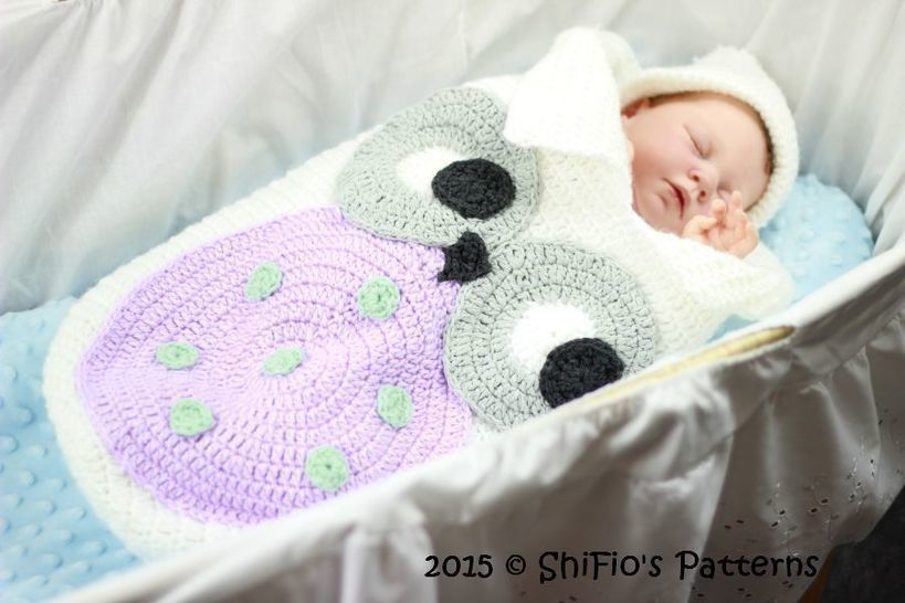 CP331 Owl Baby Cocoon, Papoose & Hat in 3 Sizes Crochet pattern # 331