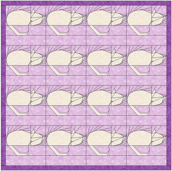 Kitty 15 Inch Quilting Block Template Pattern