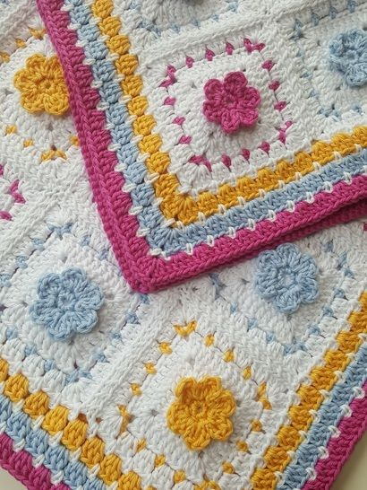 Crochet Blanket, Spring Flowers, Pattern No34, in both UK and US crochet terms