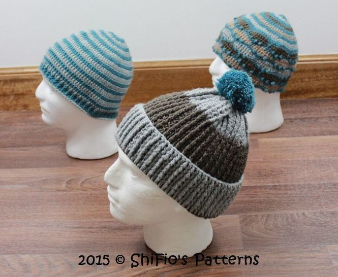 CP333  Highlander Striped, Ribbed, Mountain Mens Beanie Hat Crochet Pattern #333