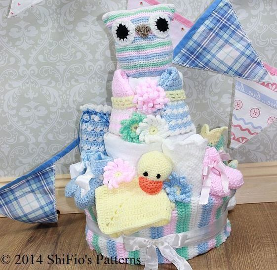 CP222 Baby Nappy Diaper Cake, Owl Toy, Bib, Booties, Bonnet, Sookie Crochet pattern #222