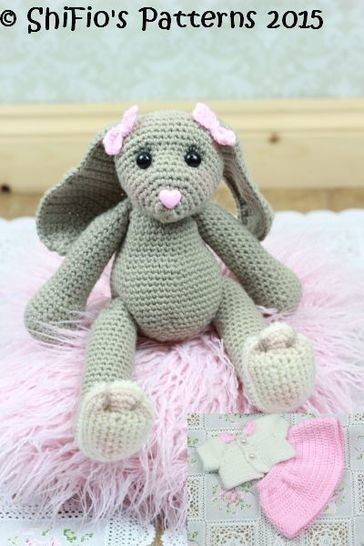CP325 Blossom Easter Bunny Toy Rabbit & Cardigan, skirt, Headband Crochet pattern #325