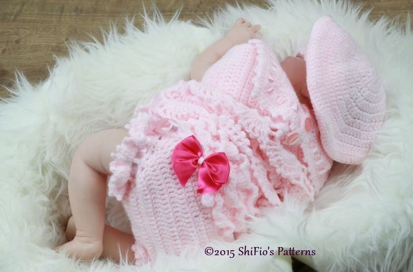 CP319 Sailor Angel Top, Pants, Beret in 3 Sizes Baby Crochet Pattern #319