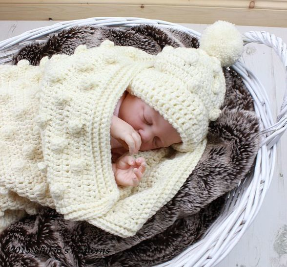 CP315 Baby Bobble Cocoon, Papoose & Hat in 2 Sizes Baby Crochet Pattern #315