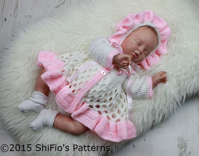 CP313 Honeycomb Baby Matinee Jacket, Hat & Shoes Baby Crochet Pattern #313